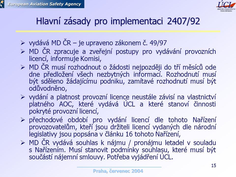 Praha, červenec 2004 15 Hlavní zásady pro implementaci 2407/92  vydává MD ČR – je upraveno zákonem č.