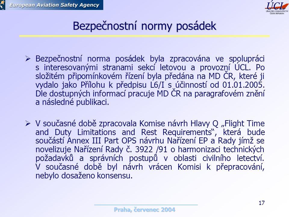 Praha, červenec 2004 17 Bezpečnostní normy posádek  Bezpečnostní norma posádek byla zpracována ve spolupráci s interesovanými stranami sekcí letovou a provozní ÚCL.