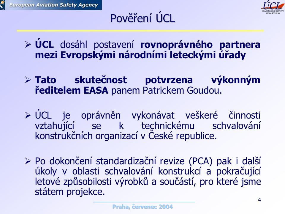 Praha, červenec 2004 4 Pověření ÚCL  ÚCL dosáhl postavení rovnoprávného partnera mezi Evropskými národními leteckými úřady  Tato skutečnost potvrzena výkonným ředitelem EASA panem Patrickem Goudou.