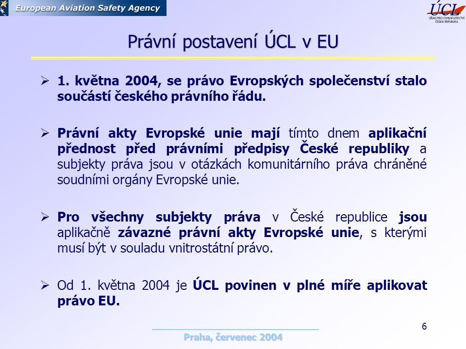 Praha, červenec 2004 6 Právní postavení ÚCL v EU  1.