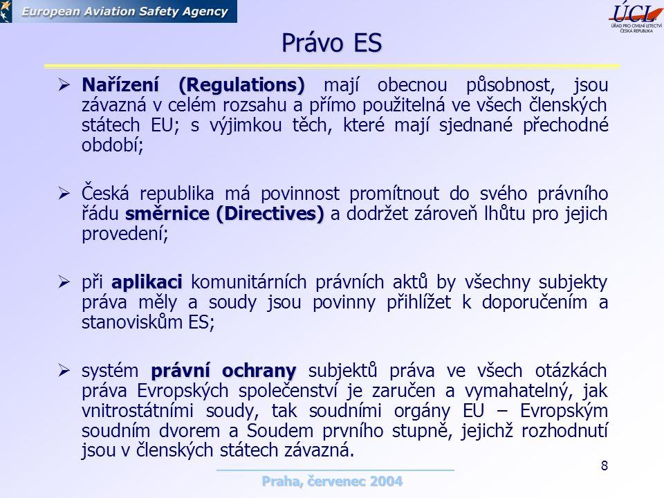 Praha, červenec 2004 8 Právo ES  Nařízení (Regulations)  Nařízení (Regulations) mají obecnou působnost, jsou závazná v celém rozsahu a přímo použitelná ve všech členských státech EU; s výjimkou těch, které mají sjednané přechodné období; směrnice (Directives)  Česká republika má povinnost promítnout do svého právního řádu směrnice (Directives) a dodržet zároveň lhůtu pro jejich provedení; aplikaci  při aplikaci komunitárních právních aktů by všechny subjekty práva měly a soudy jsou povinny přihlížet k doporučením a stanoviskům ES; právní ochrany  systém právní ochrany subjektů práva ve všech otázkách práva Evropských společenství je zaručen a vymahatelný, jak vnitrostátními soudy, tak soudními orgány EU – Evropským soudním dvorem a Soudem prvního stupně, jejichž rozhodnutí jsou v členských státech závazná.