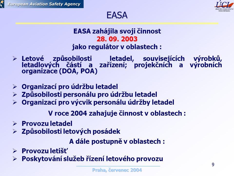 Praha, červenec 2004 9 EASA zahájila svoji činnost 28.