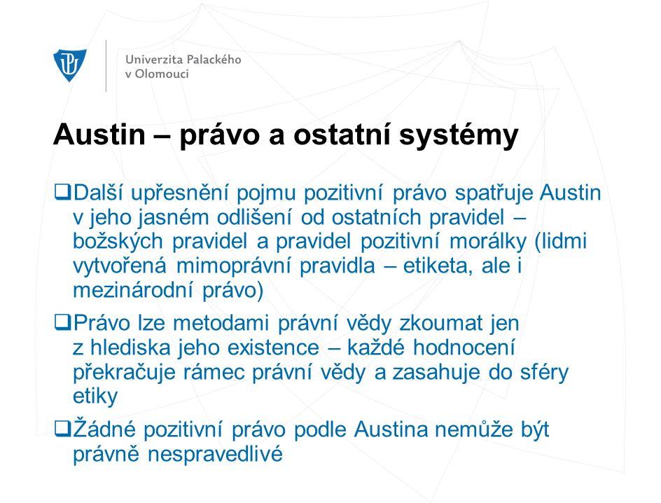 Austin – právo a ostatní systémy  Další upřesnění pojmu pozitivní právo spatřuje Austin v jeho jasném odlišení od ostatních pravidel – božských pravi