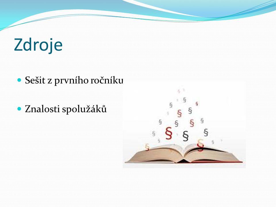 Zdroje Sešit z prvního ročníku Znalosti spolužáků