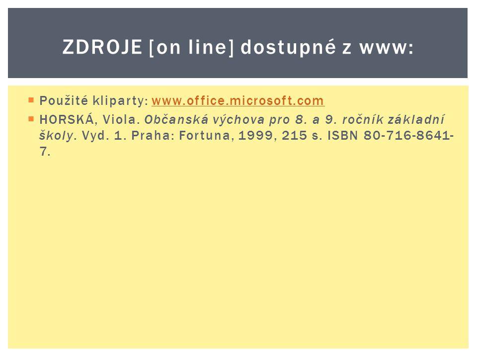  Použité kliparty: www.office.microsoft.comwww.office.microsoft.com  HORSKÁ, Viola.
