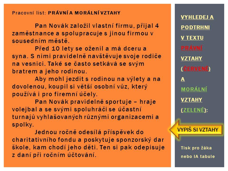 VYHLEDEJ A PODTRHNI V TEXTU PRÁVNÍ VZTAHY (ČERVENĚ) A MORÁLNÍ VZTAHY (ZELENĚ): Tisk pro žáka nebo IA tabule Pracovní list: PRÁVNÍ A MORÁLNÍ VZTAHY Pan Novák založil vlastní firmu, přijal 4 zaměstnance a spolupracuje s jinou firmou v sousedním městě.