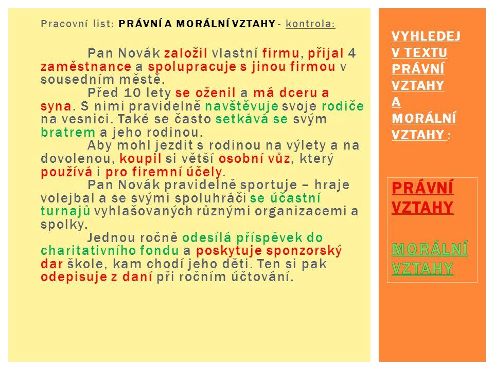 Pracovní list: PRÁVNÍ A MORÁLNÍ VZTAHY - kontrola: Pan Novák založil vlastní firmu, přijal 4 zaměstnance a spolupracuje s jinou firmou v sousedním městě.
