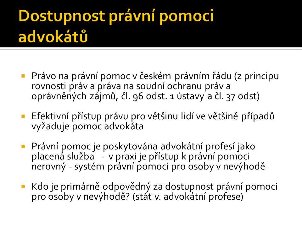  Právo na právní pomoc v českém právním řádu (z principu rovnosti práv a práva na soudní ochranu práv a oprávněných zájmů, čl. 96 odst. 1 ústavy a čl