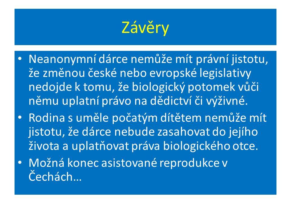 Závěry Neanonymní dárce nemůže mít právní jistotu, že změnou české nebo evropské legislativy nedojde k tomu, že biologický potomek vůči němu uplatní právo na dědictví či výživné.