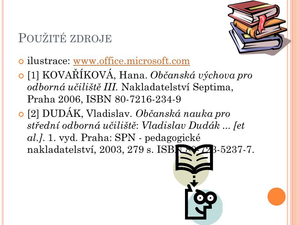 P OUŽITÉ ZDROJE ilustrace: www.office.microsoft.comwww.office.microsoft.com [1] KOVAŘÍKOVÁ, Hana.