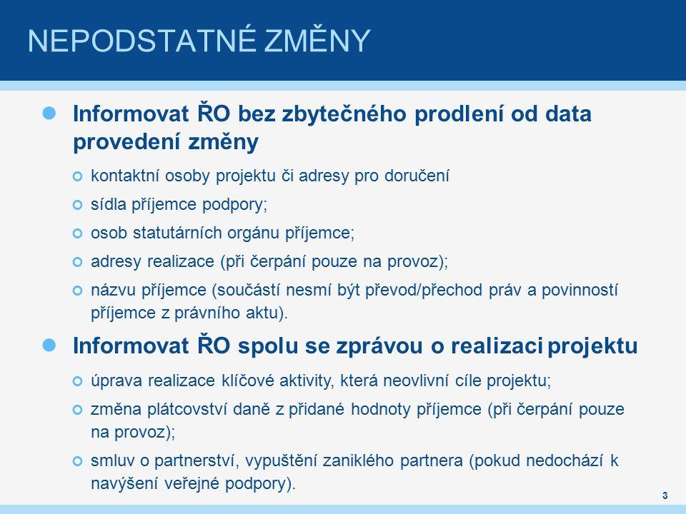 Informovat ŘO bez zbytečného prodlení od data provedení změny kontaktní osoby projektu či adresy pro doručení sídla příjemce podpory; osob statutárníc