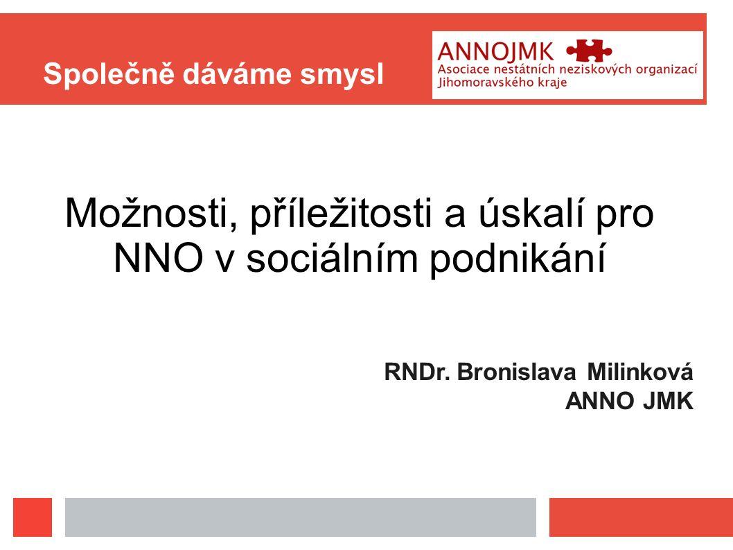 Společně dáváme smysl Možnosti, příležitosti a úskalí pro NNO v sociálním podnikání RNDr. Bronislava Milinková ANNO JMK