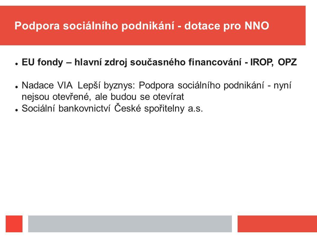 Podpora sociálního podnikání - dotace pro NNO EU fondy – hlavní zdroj současného financování - IROP, OPZ Nadace VIA Lepší byznys: Podpora sociálního p