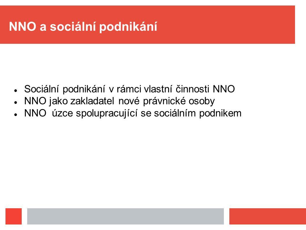 NNO a sociální podnikání Sociální podnikání v rámci vlastní činnosti NNO NNO jako zakladatel nové právnické osoby NNO úzce spolupracující se sociálním
