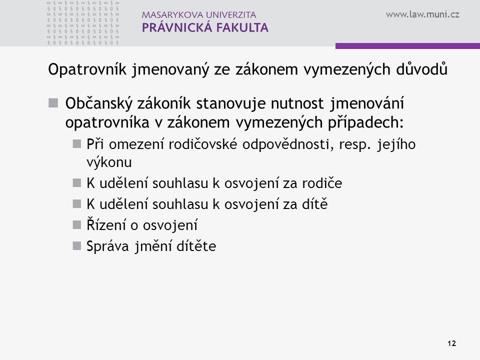www.law.muni.cz Opatrovník jmenovaný ze zákonem vymezených důvodů Občanský zákoník stanovuje nutnost jmenování opatrovníka v zákonem vymezených případech: Při omezení rodičovské odpovědnosti, resp.