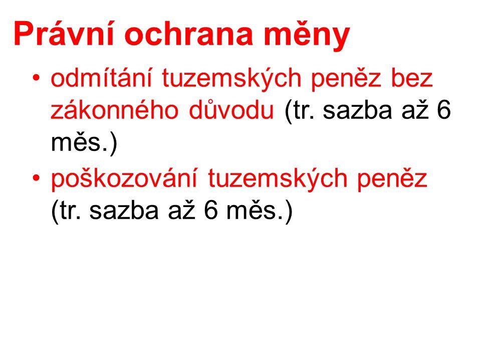 Právní ochrana měny odmítání tuzemských peněz bez zákonného důvodu (tr.
