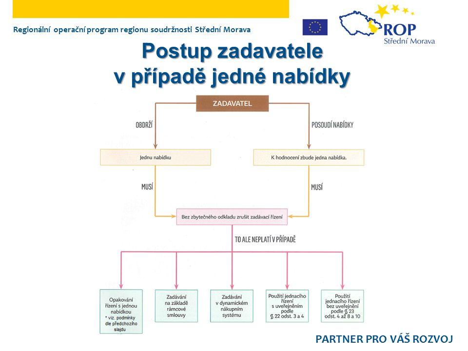 Regionální operační program regionu soudržnosti Střední Morava PARTNER PRO VÁŠ ROZVOJ Postup zadavatele v případě jedné nabídky