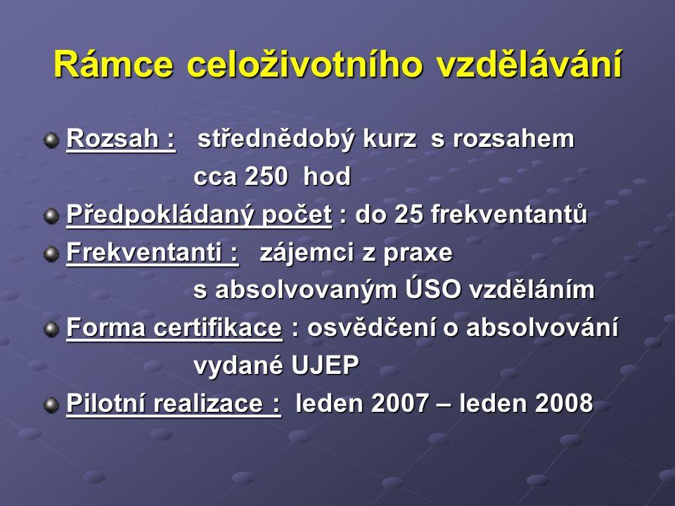 Rámce celoživotního vzdělávání Rozsah : střednědobý kurz s rozsahem cca 250 hod cca 250 hod Předpokládaný počet : do 25 frekventantů Frekventanti : zájemci z praxe s absolvovaným ÚSO vzděláním s absolvovaným ÚSO vzděláním Forma certifikace : osvědčení o absolvování vydané UJEP vydané UJEP Pilotní realizace : leden 2007 – leden 2008