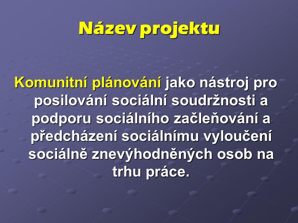 Název projektu Komunitní plánování jako nástroj pro posilování sociální soudržnosti a podporu sociálního začleňování a předcházení sociálnímu vyloučení sociálně znevýhodněných osob na trhu práce.