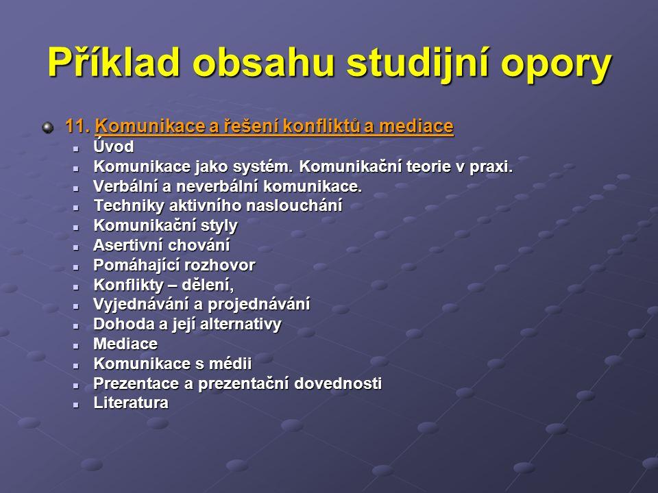 Příklad obsahu studijní opory 11.