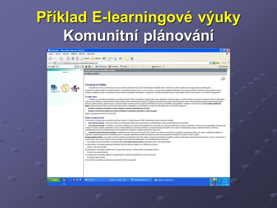Příklad E-learningové výuky Komunitní plánování