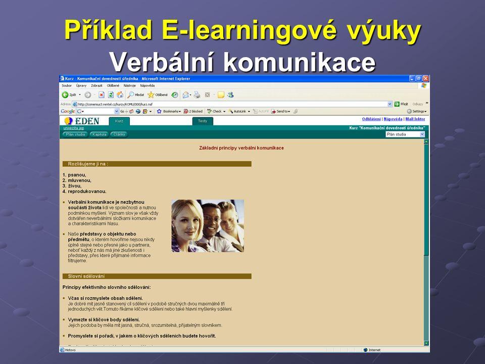 Příklad E-learningové výuky Verbální komunikace