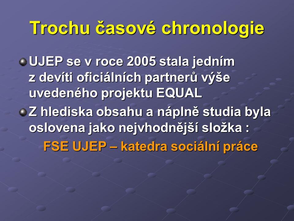 Trochu časové chronologie UJEP se v roce 2005 stala jedním z devíti oficiálních partnerů výše uvedeného projektu EQUAL Z hlediska obsahu a náplně studia byla oslovena jako nejvhodnější složka : FSE UJEP – katedra sociální práce FSE UJEP – katedra sociální práce