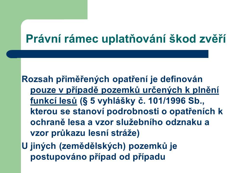 Právní rámec uplatňování škod zvěří Rozsah přiměřených opatření je definován pouze v případě pozemků určených k plnění funkcí lesů (§ 5 vyhlášky č.