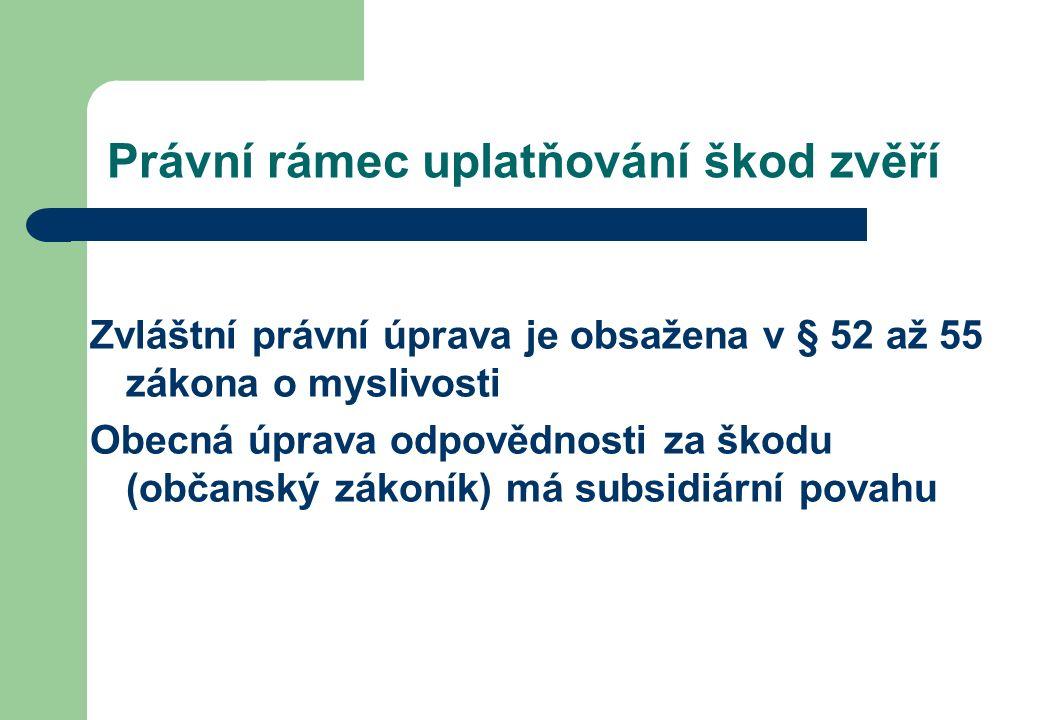 Právní rámec uplatňování škod zvěří Zvláštní právní úprava je obsažena v § 52 až 55 zákona o myslivosti Obecná úprava odpovědnosti za škodu (občanský zákoník) má subsidiární povahu