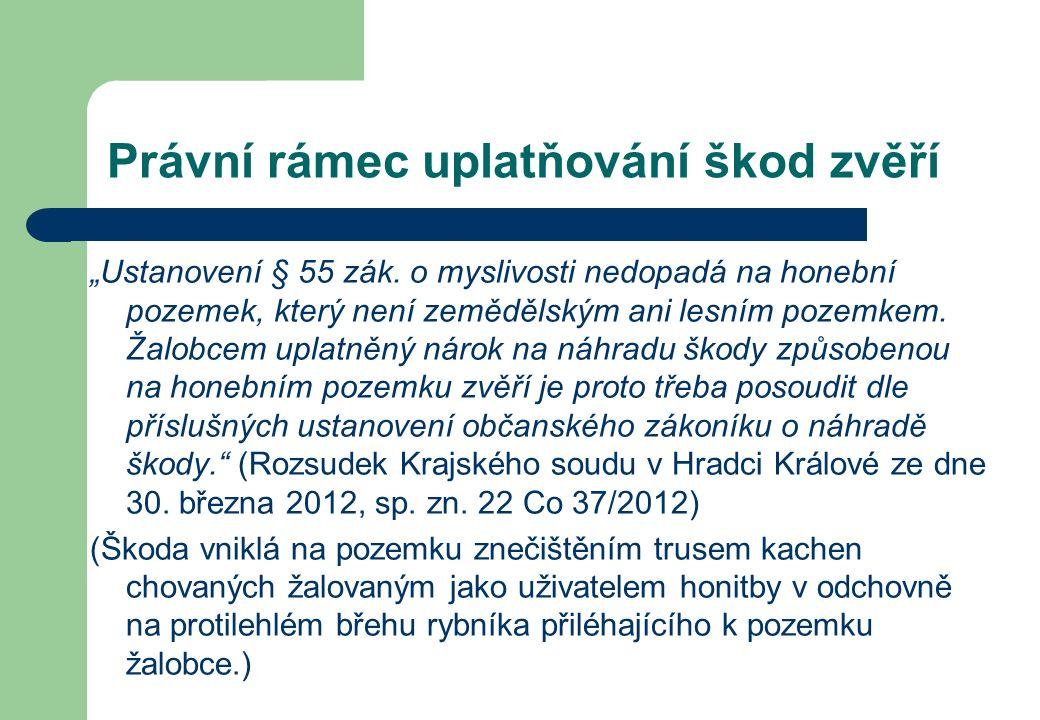 """Právní rámec uplatňování škod zvěří """"Ustanovení § 55 zák."""