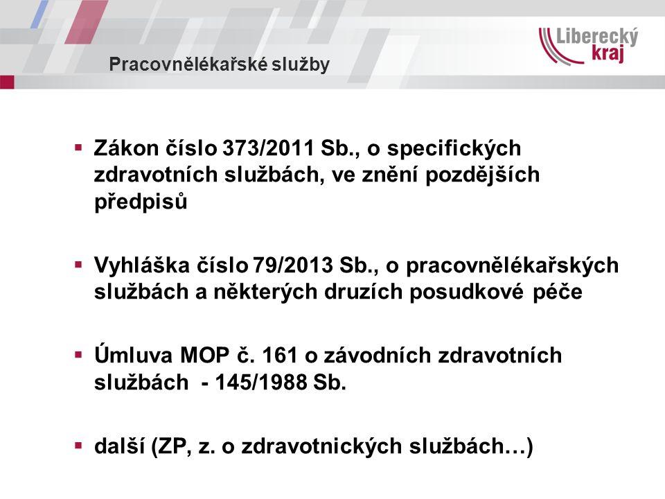 Pracovnělékařské služby  Zákon číslo 373/2011 Sb., o specifických zdravotních službách, ve znění pozdějších předpisů  Vyhláška číslo 79/2013 Sb., o