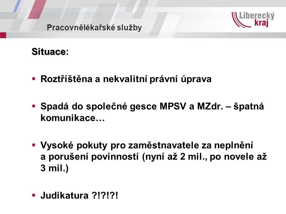Pracovnělékařské služby Situace Situace:  Roztříštěna a nekvalitní právní úprava  Spadá do společné gesce MPSV a MZdr.