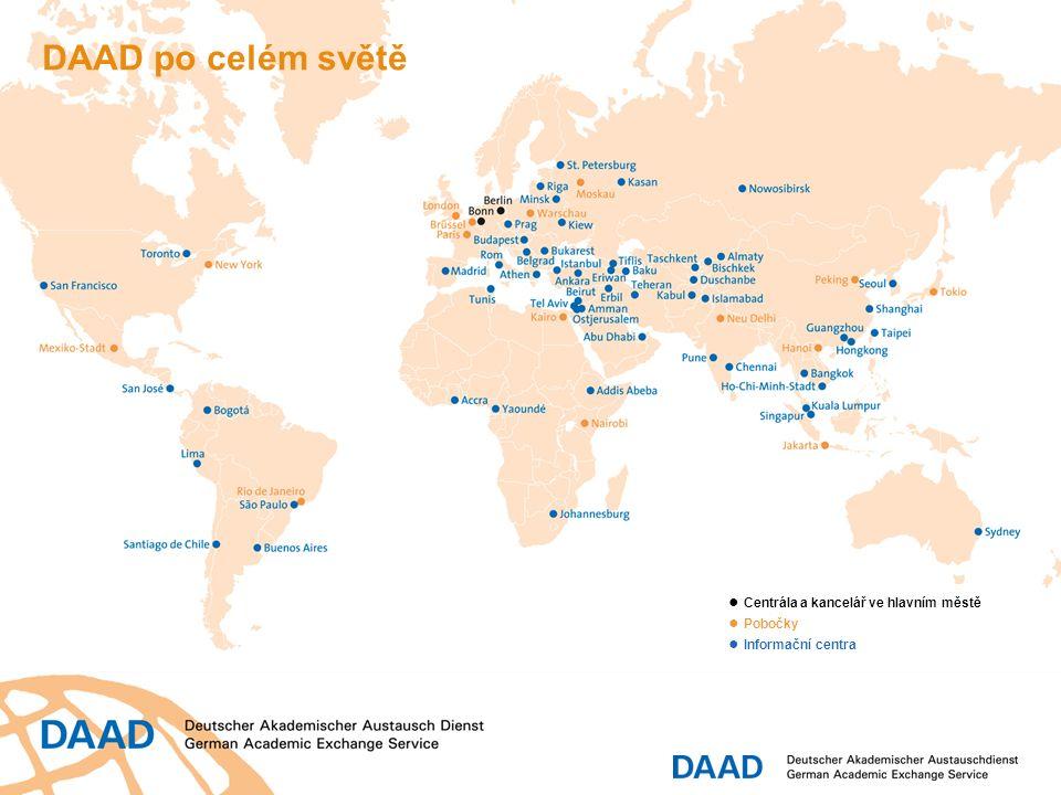 DAAD po celém světě ● Centrála a kancelář ve hlavním městě ● Pobočky ● Informační centra