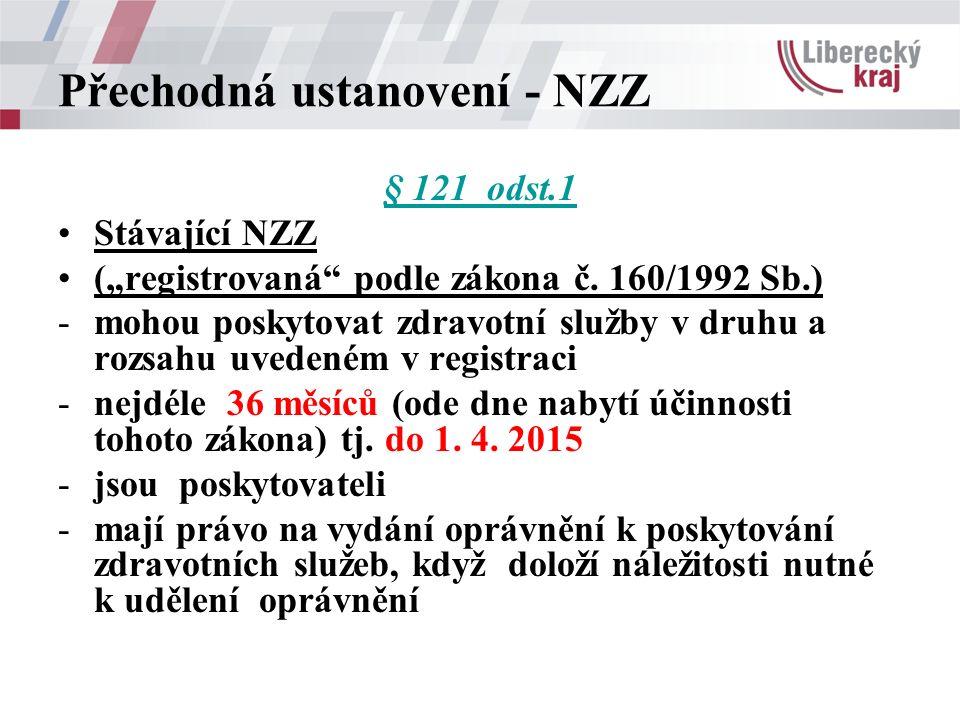"""Přechodná ustanovení - NZZ § 121 odst.1 Stávající NZZ (""""registrovaná"""" podle zákona č. 160/1992 Sb.) -mohou poskytovat zdravotní služby v druhu a rozsa"""