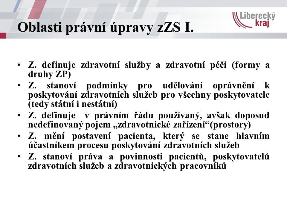 Oblasti právní úpravy zZS I. Z. definuje zdravotní služby a zdravotní péči (formy a druhy ZP) Z. stanoví podmínky pro udělování oprávnění k poskytován
