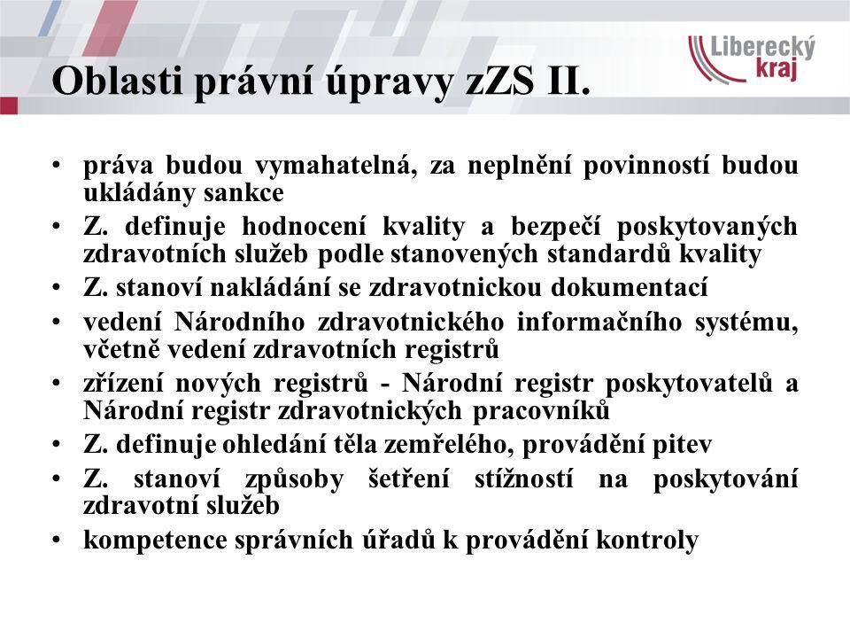 Oblasti právní úpravy zZS II. práva budou vymahatelná, za neplnění povinností budou ukládány sankce Z. definuje hodnocení kvality a bezpečí poskytovan