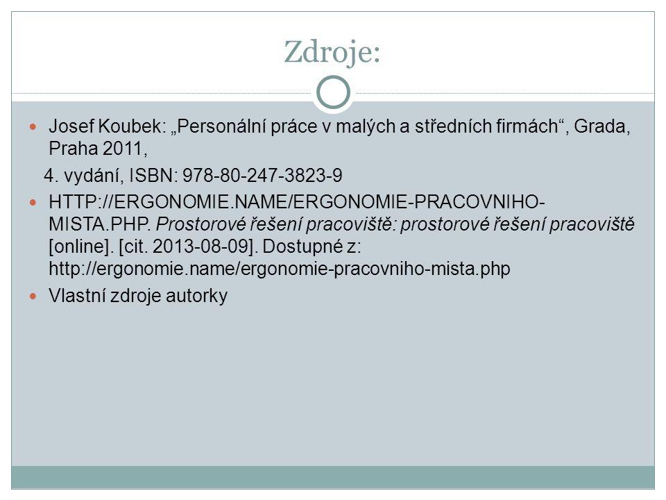 """Zdroje: Josef Koubek: """"Personální práce v malých a středních firmách , Grada, Praha 2011, 4."""