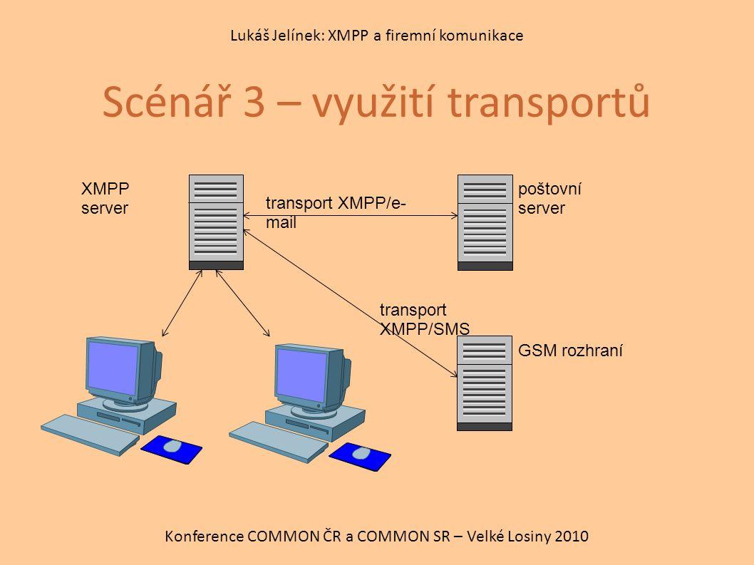 Scénář 3 – využití transportů Konference COMMON ČR a COMMON SR – Velké Losiny 2010 Lukáš Jelínek: XMPP a firemní komunikace XMPP server transport XMPP/e- mail transport XMPP/SMS poštovní server GSM rozhraní