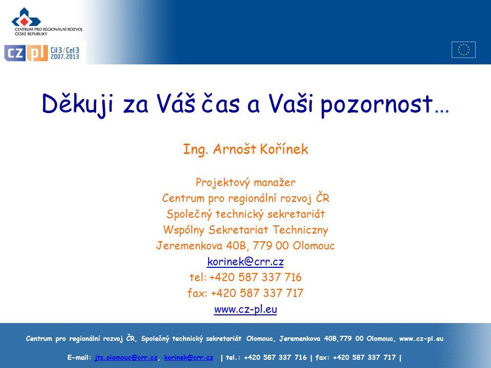 Centrum pro regionální rozvoj ČR, Společný technický sekretariát Olomouc, Jeremenkova 40B,779 00 Olomouc, www.cz-pl.eu E-mail: jts.olomouc@crr.cz, korinek@crr.cz | tel.: +420 587 337 716 | fax: +420 587 337 717 |jts.olomouc@crr.czkorinek@crr.cz Děkuji za Váš čas a Vaši pozornost… Ing.