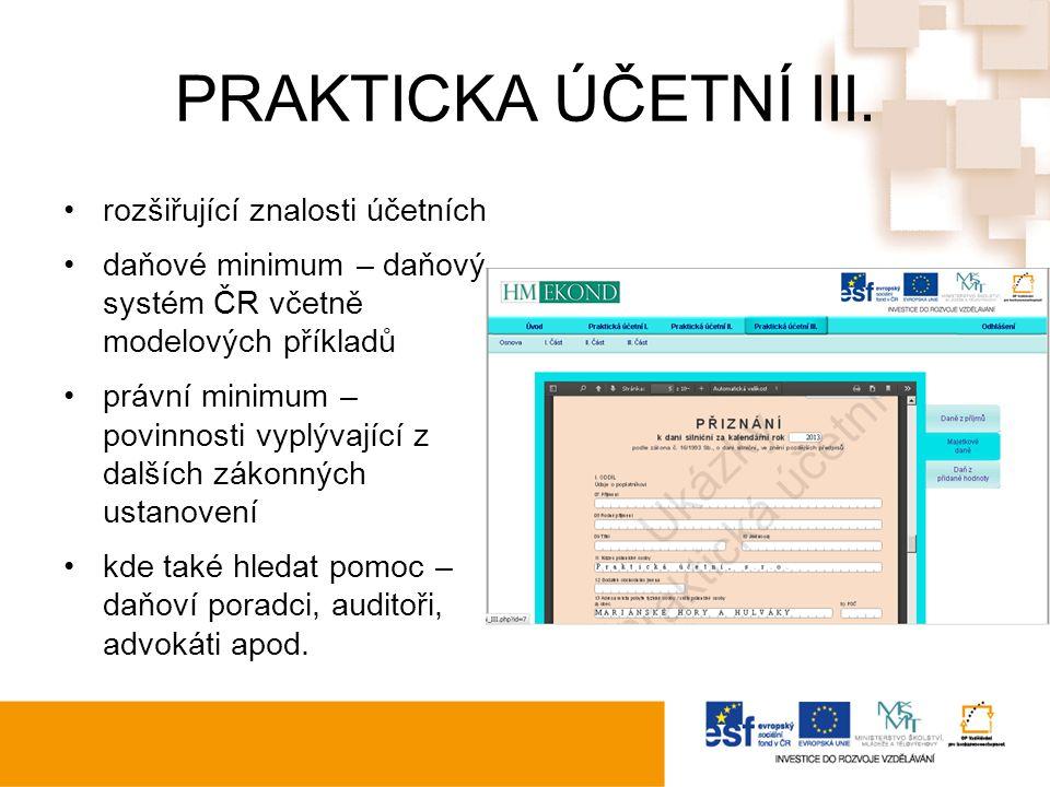 PRAKTICKA ÚČETNÍ III.
