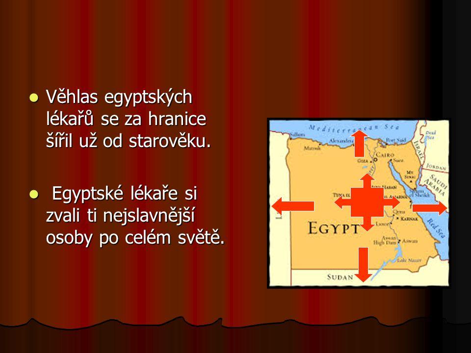 Věhlas egyptských lékařů se za hranice šířil už od starověku.