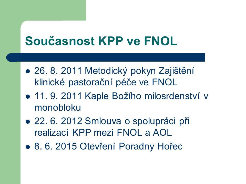 Současnost KPP ve FNOL 26. 8. 2011 Metodický pokyn Zajištění klinické pastorační péče ve FNOL 11.