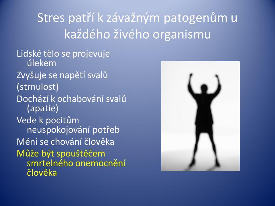 Stres patří k závažným patogenům u každého živého organismu Lidské tělo se projevuje úlekem Zvyšuje se napětí svalů (strnulost) Dochází k ochabování s