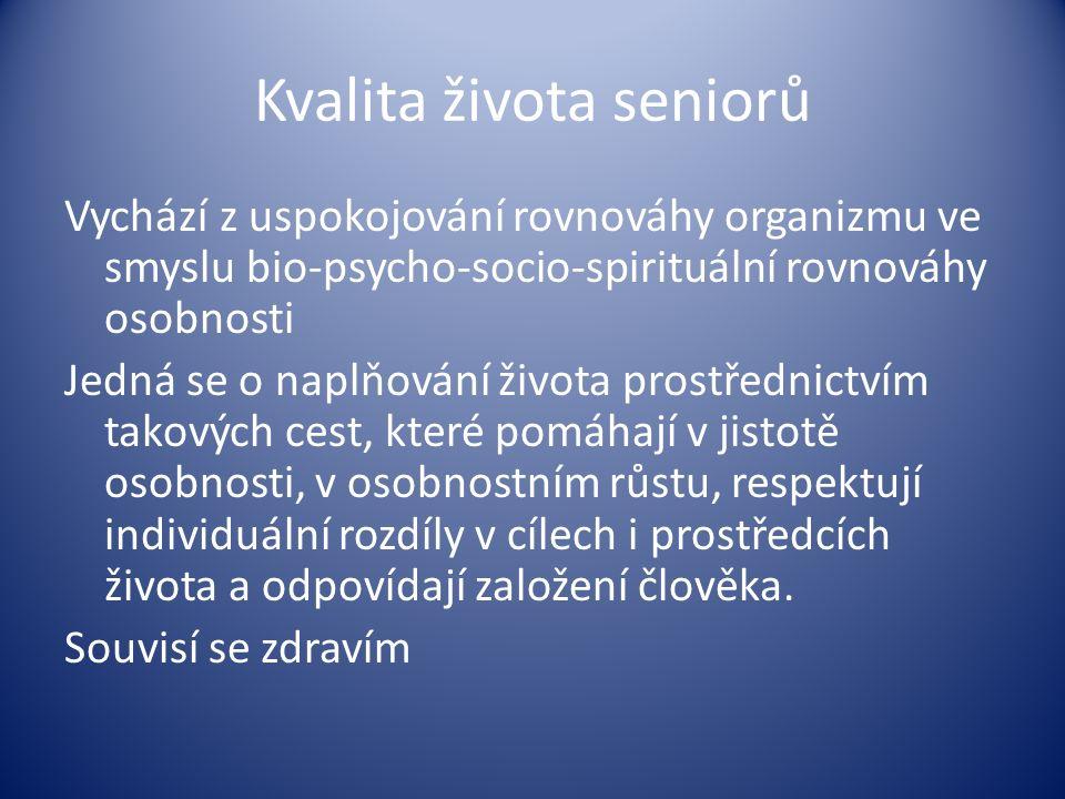 Kvalita života seniorů Vychází z uspokojování rovnováhy organizmu ve smyslu bio-psycho-socio-spirituální rovnováhy osobnosti Jedná se o naplňování živ