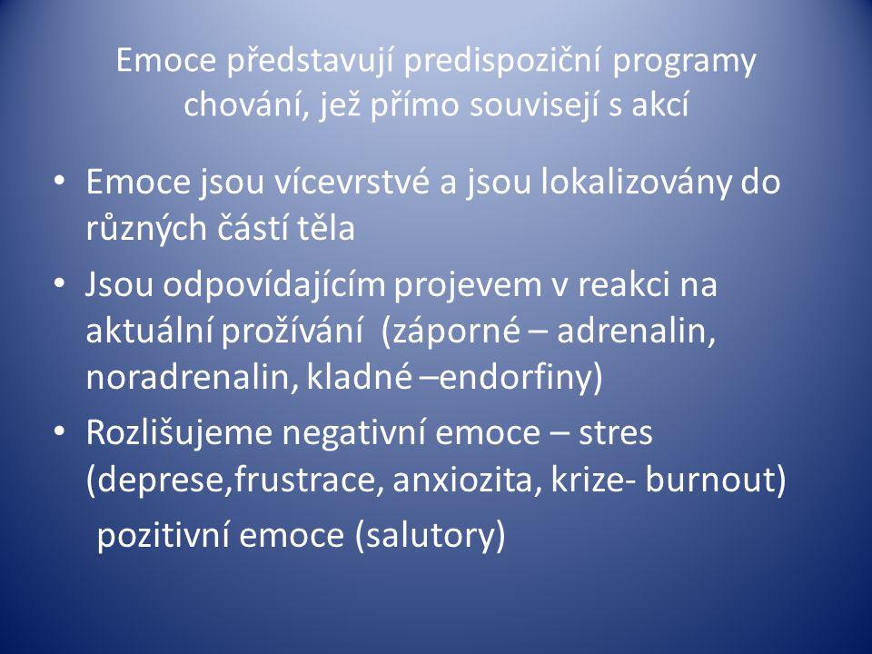 Emoce představují predispoziční programy chování, jež přímo souvisejí s akcí Emoce jsou vícevrstvé a jsou lokalizovány do různých částí těla Jsou odpo