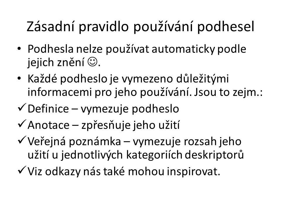 Zásadní pravidlo používání podhesel Podhesla nelze používat automaticky podle jejich znění. Každé podheslo je vymezeno důležitými informacemi pro jeho