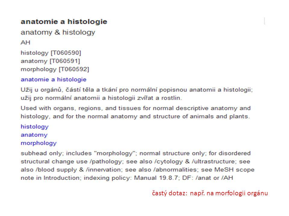 častý dotaz: např. na morfologii orgánu