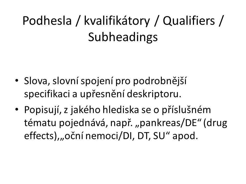 Podhesla / kvalifikátory / Qualifiers / Subheadings Slova, slovní spojení pro podrobnější specifikaci a upřesnění deskriptoru. Popisují, z jakého hled