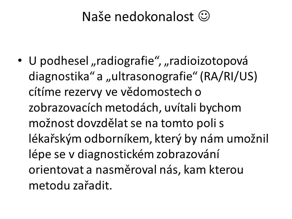"""Naše nedokonalost U podhesel """"radiografie"""", """"radioizotopová diagnostika"""" a """"ultrasonografie"""" (RA/RI/US) cítíme rezervy ve vědomostech o zobrazovacích"""