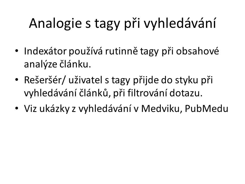 Analogie s tagy při vyhledávání Indexátor používá rutinně tagy při obsahové analýze článku. Rešeršér/ uživatel s tagy přijde do styku při vyhledávání